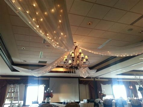 ceiling drape with string lights social events