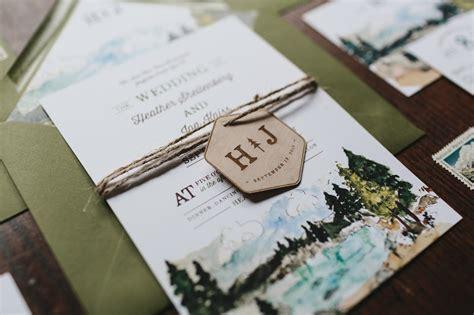 illustrated lake tahoe inspired wedding invitations