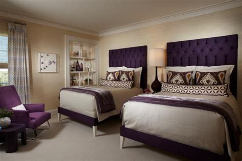 transitional beige bedroom  royal purple headboards hgtv