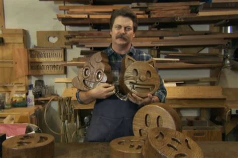 nick offerman woodworking nick offerman presents his handcrafted wood emojis popoptiq