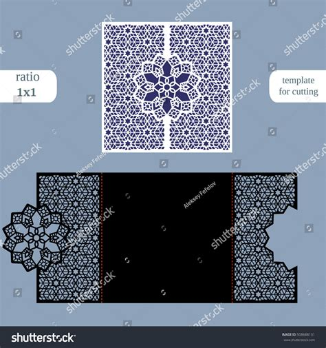 cutting templates card laser cut wedding invitation card template stock vector