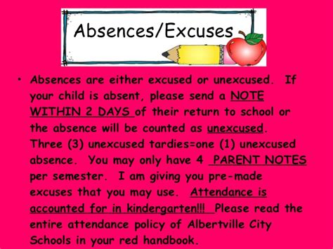 Excuse Letter For Pre K Ppt For Orientation Agenda 2010 2011