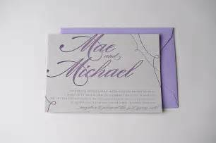 purple and gray wedding invitations real wedding mae and michael grey and purple