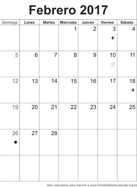Febrero Calendario 2017 Febrero 2017 Calendario Para Imprimir Calendarios Para