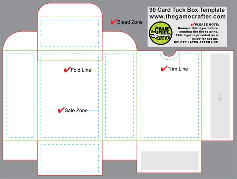 54 card tuck box template tuck box 90 cards
