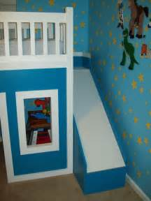 white playhouse loft bed with stairs and slide diy
