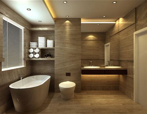 Bathroom design with tub floor tile toilet by european style