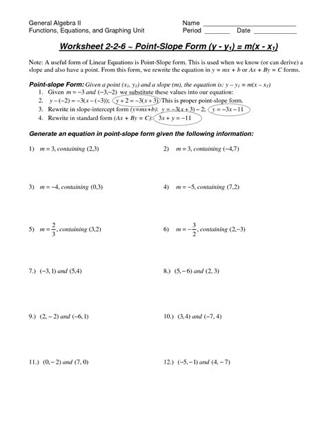 Point Slope Form Worksheet by 15 Best Images Of Point Intercept Form Worksheet Point