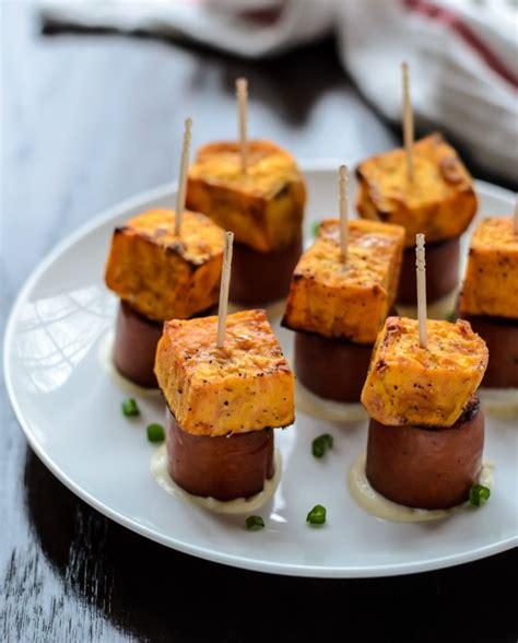 appetizers sweet sweet potato sausage skewers