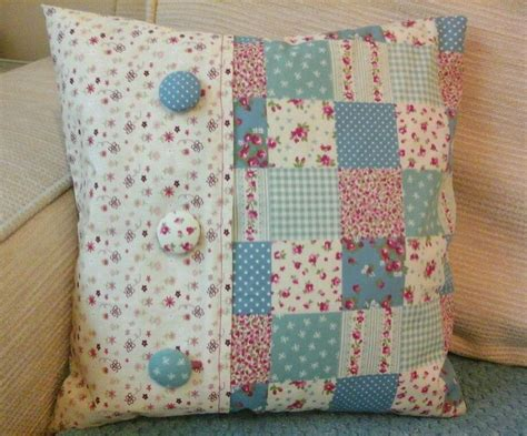 Patchwork Cover - handmade blue ditsy floral patchwork shabby chic cushion