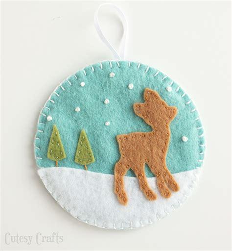 felt ornaments for deer and fox felt ornaments cutesy crafts
