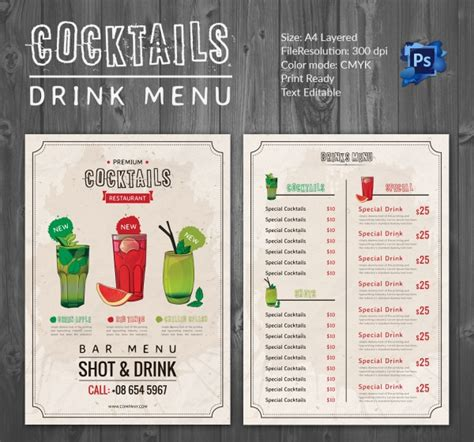 cocktail list template drink menu template 25 free psd eps documents