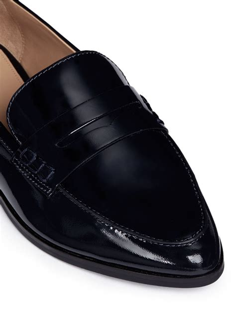 michael kors patent leather loafers michael kors connor patent leather loafers in black lyst