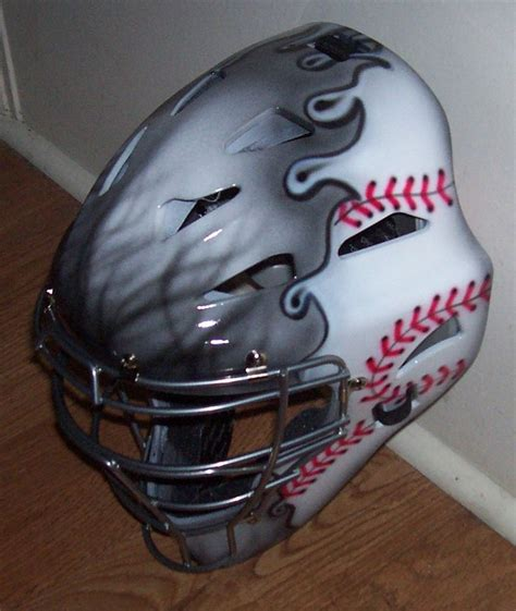 design baseball helmet catchers helmet youth or adult airbrush flames