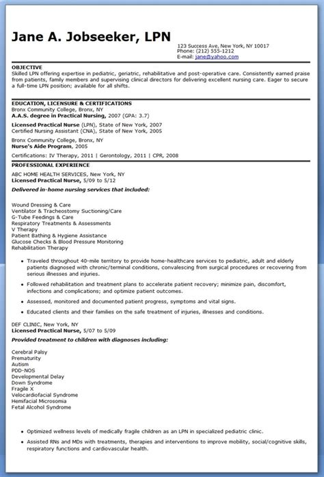 Resume Exles For Lpn Sle Lpn Resume Objective Creative Resume Design Templates Word Resume