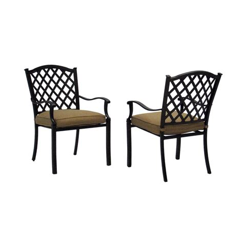 Aluminum Patio Chairs Shop Allen Roth Set Of 2 Shadybrook Bronze Seat Aluminum Stackable Patio Dining Chairs