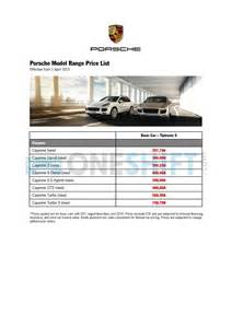 Porsche Price List Porsche Singapore Printed Car Price List Oneshift