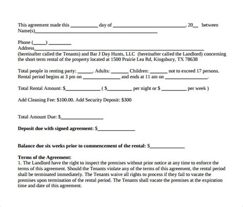 term lease agreement template sle term rental agreement 8 free documents in