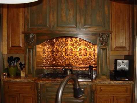 tin backsplash kitchen backsplashes rustic kitchen