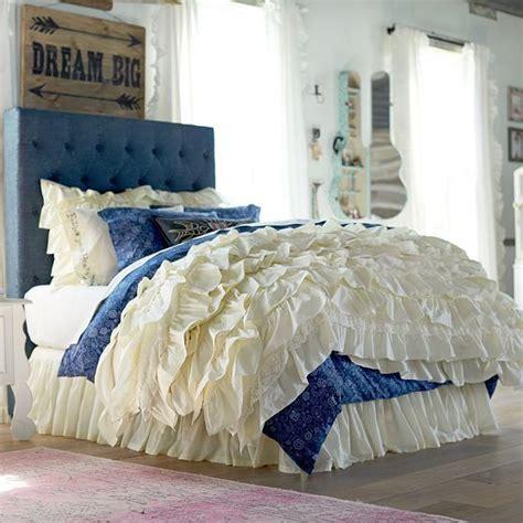 blue ruffle bedding junk gypsy blue jean headboard gypsy ruffles and bedding