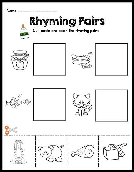 printable preschool rhyming worksheets free kindergarten cut and paste rhyming worksheets free