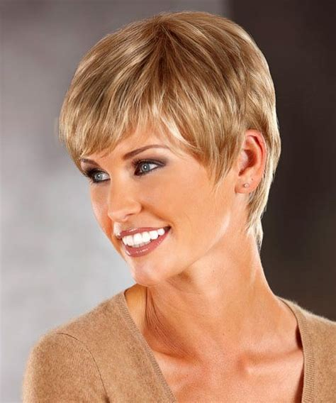 pictures of back of wispy short hair faith features a short pixie cut with a monofilament crown