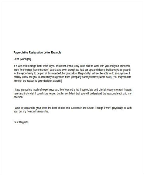 Appreciative Resignation Letter 8 appreciative resignation letters free sle exle format free premium
