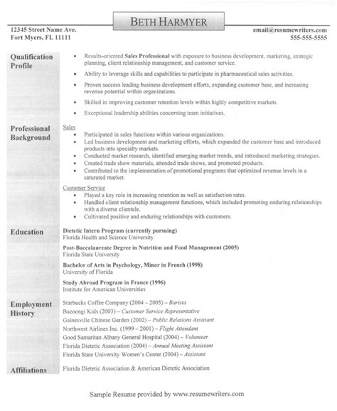 Profile Resume Sles by Sales Professional Resume Exle Qualification Profile Writing Resume Sle Writing Resume