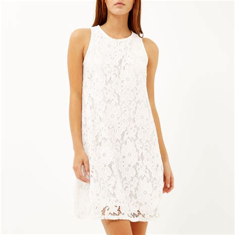 cream swing dress river island cream lace sleeveless swing dress in beige
