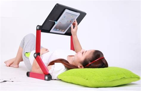 ipad stand for bed amazon com icraze for ipad adjustable vented laid back