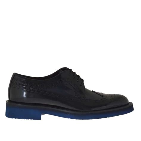 shoes in oxford s laced oxford shoe in blue and black brush