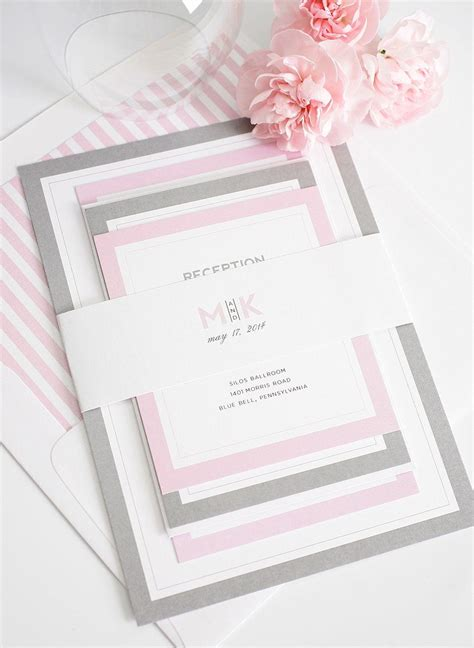 Pink Wedding Invitation gorgeous wedding invitations with pink and gray borders