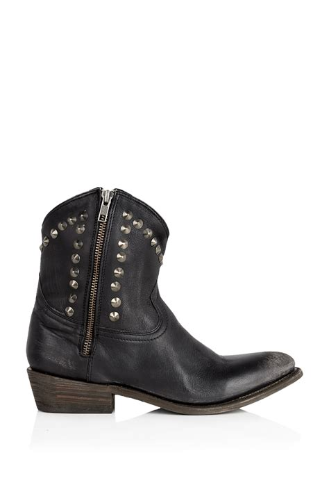cowboy ankle boots for ash crosby studded curve cowboy ankle boot in black lyst