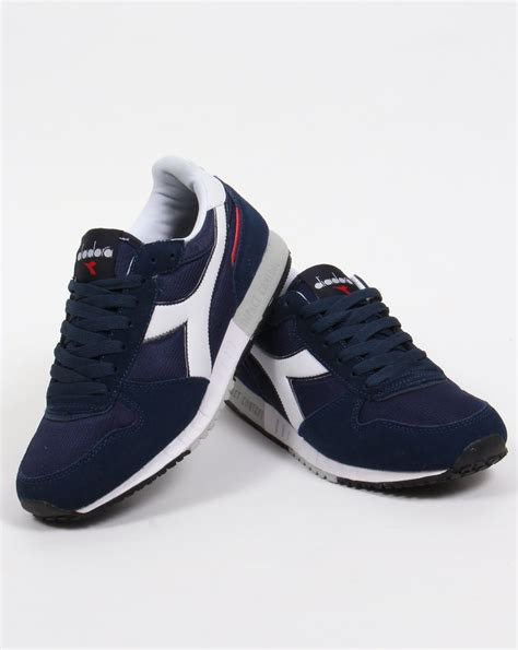 diadora malone trainers navy white runners shoes sneakers mens