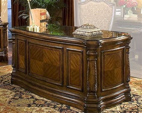 aico executive desk court in honey walnut ai 70207