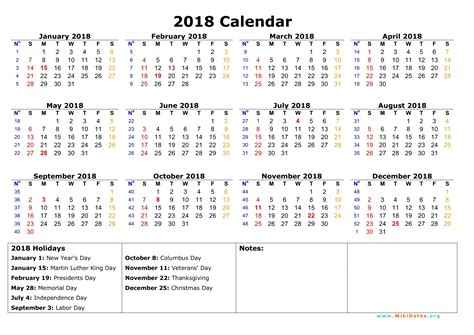 printable yearly vacation calendar january 2018 calendar printable with holidays monthly