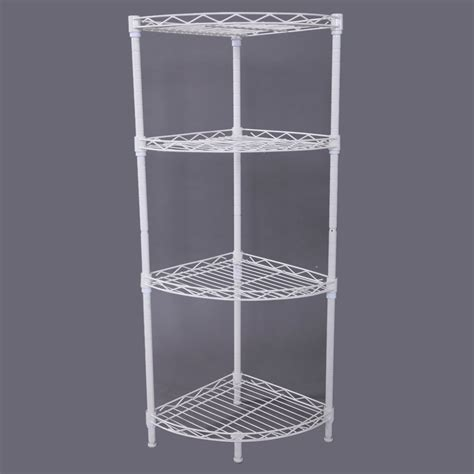 Wire Bathroom Shelving Corner Storage Rack 4 Tier Rack Shelf Wire Shelving Kitchen Bathroom Organizer Ebay
