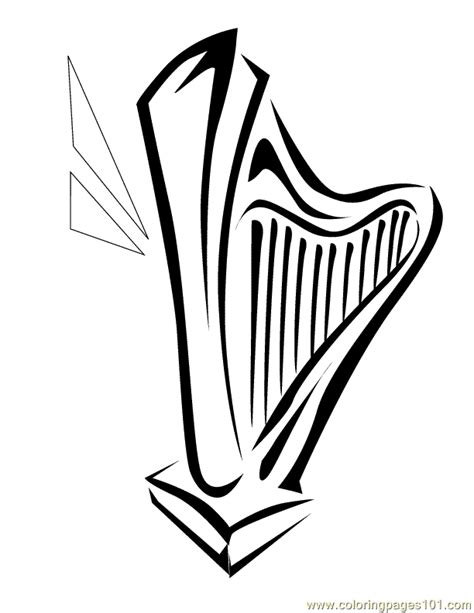 harp coloring page cliparts co