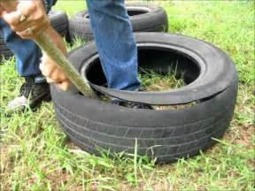how to cut a tire and make it into a garden pot wmv