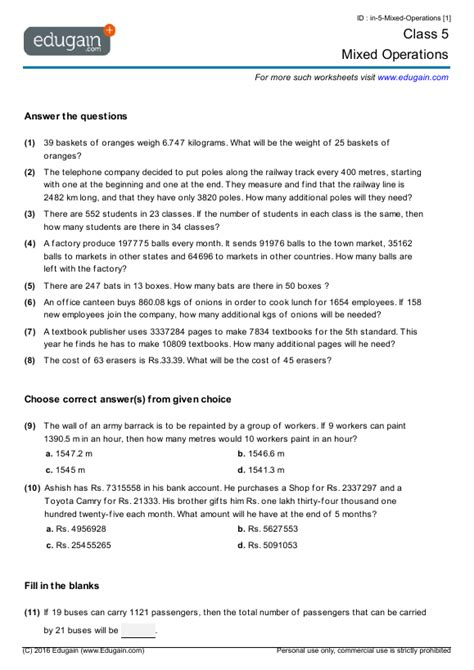 grade 5 math worksheets and problems mixed operations