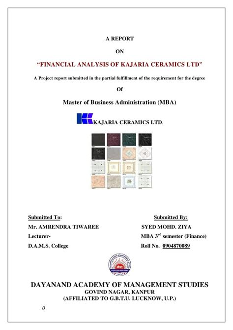 Financial Performance Analysis Project Report For Mba by 49843624 Project Report On Financial Statement Analysis Of