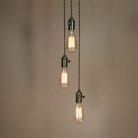 Hanging Bulb Chandelier 3 Light Chandelier Cascading Pendant Lights With Edison Light Bulbs