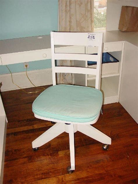 pottery barn white desk chair pottery barn white swivel rolling desk chair with blue