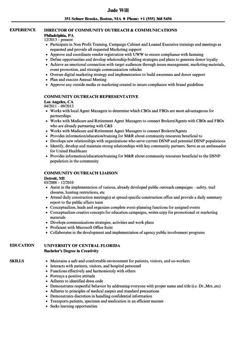 community outreach specialist sle resume industrial