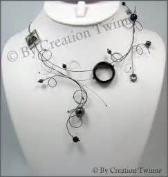 Handmade Earrings Designs Unique - black gray statement swirls necklace funky designs