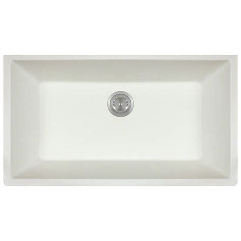 White Undermount Kitchen Sink by Polaris Sinks Undermount Granite 33 In Single Bowl