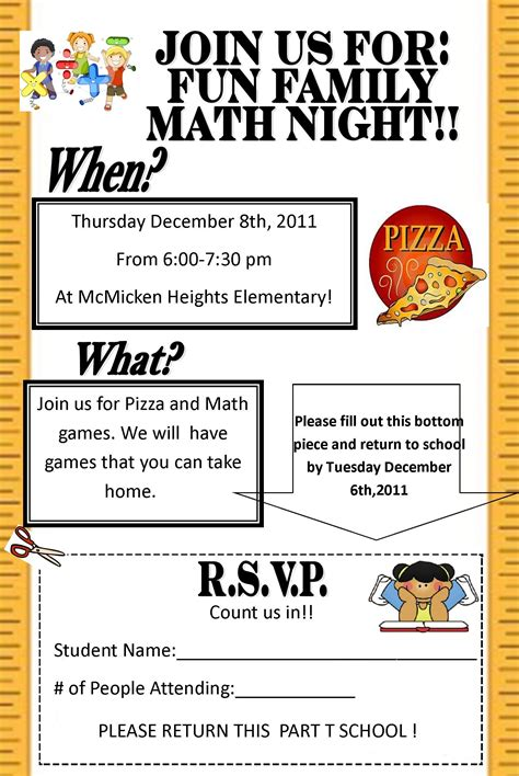 parent flyer templates flyer for family math search math