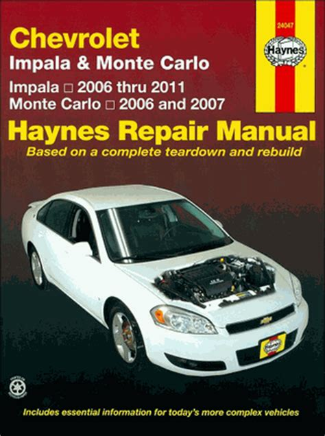 service repair manual free download 2006 chevrolet impala lane departure warning chevy impala monte carlo repair manual 2006 2011 haynes 24047