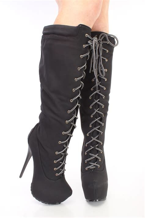 6 inch high heel boots black lace up 6 inch stiletto high heel boots nubuck