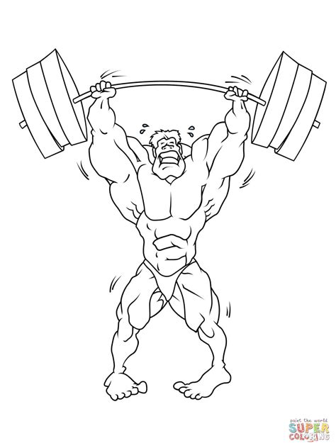 strong weightlifter coloring page free printable